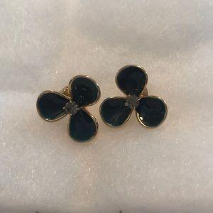 J.crew navy flower earrings